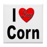 I Love Corn Tile Coaster