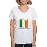 Wavy Irish Flag Women's V-Neck T-Shirt