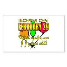 Born on Leap Year, 11 Years Old Sticker (Rectangul