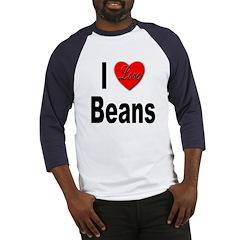 I Love Beans (Front) Baseball Jersey