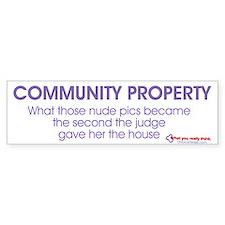 """""""Community Property"""" Bumper Bumper Sticker"""