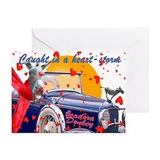 Isadora Donkey Heart Storm Valentine Greeting Card