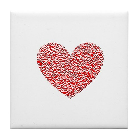 Crumbled Red Heart Valentine Tile Coaster