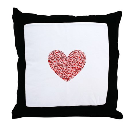 Crumbled Red Heart Valentine Throw Pillow