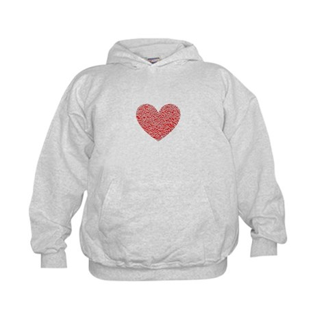 Crumbled Red Heart Valentine Kids Hoodie