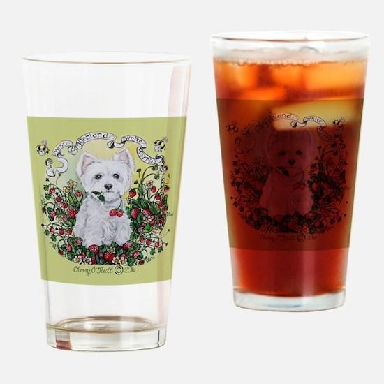 Strawberry Westie Drinking Glass