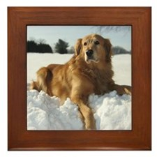 Cute Dog art Framed Tile
