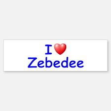 I Love Zebedee (Blue) Bumper Bumper Bumper Sticker