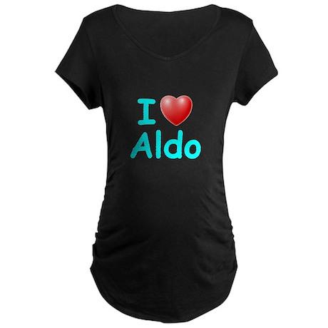 I Love Aldo (Lt Blue) Maternity Dark T-Shirt
