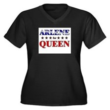 ARLENE for queen Women's Plus Size V-Neck Dark T-S