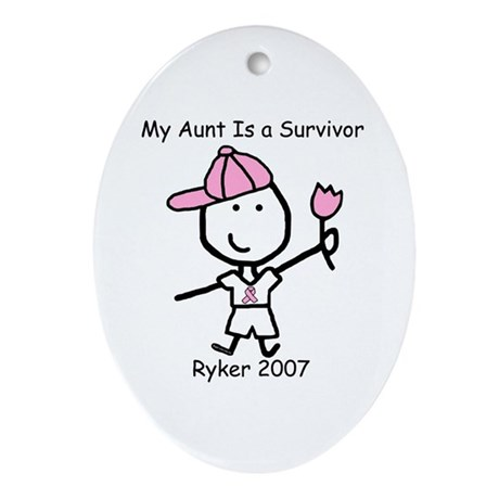 Pink Ribbon - Ryker Oval Ornament