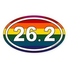 26.2 Marathon Oval Stickers with Rainbow Backgroun