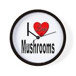 I Love Mushrooms Wall Clock