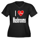 I Love Mushrooms (Front) Women's Plus Size V-Neck