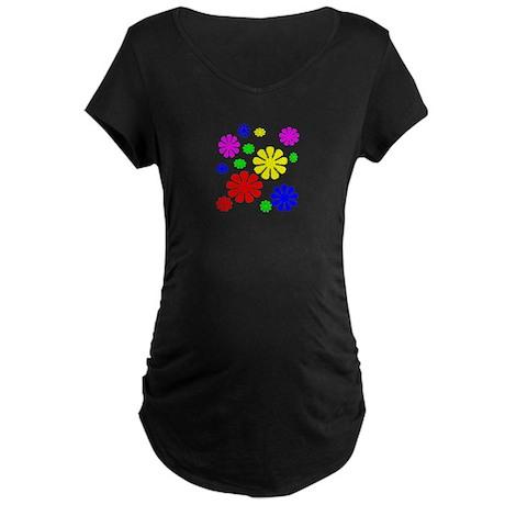 Flower Power Maternity Dark T-Shirt