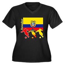 Ecuador Soccer Women's Plus Size V-Neck Dark T-Shi