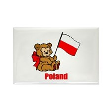 Poland Teddy Bear Rectangle Magnet
