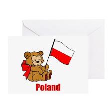 Poland Teddy Bear Greeting Card