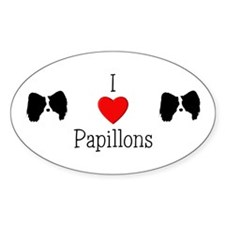I Love Papillons Oval Decal
