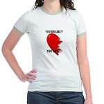 dont break my heart on back  Jr. Ringer T-Shirt