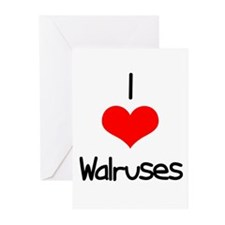 I Love (heart) Walruses Greeting Cards (Pk of 20)