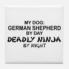 German Shepherd Deadly Ninja Tile Coaster