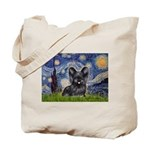 Starry / Black Skye Terrier Tote Bag