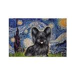 Starry / Black Skye Terrier Rectangle Magnet (10 p