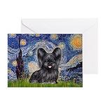 Starry / Black Skye Terrier Greeting Card