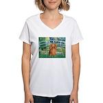 Bridge & Doxie (LH-Sable) Women's V-Neck T-Shirt