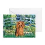Bridge & Doxie (LH-Sable) Greeting Cards (Pk of 10