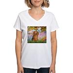 Garden -Dachshund (LH-Sable) Women's V-Neck T-Shir
