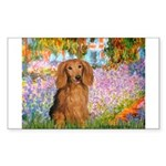 Garden -Dachshund (LH-Sable) Sticker (Rectangle)