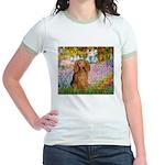 Garden -Dachshund (LH-Sable) Jr. Ringer T-Shirt