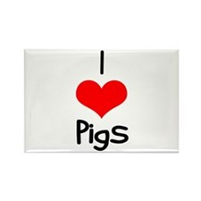 I Love (heart) Pigs Rectangle Magnet