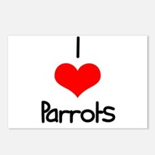 I Love (heart) Parrots Postcards (Package of 8)