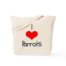 I Love (heart) Parrots Tote Bag