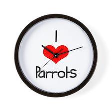 I Love (heart) Parrots Wall Clock