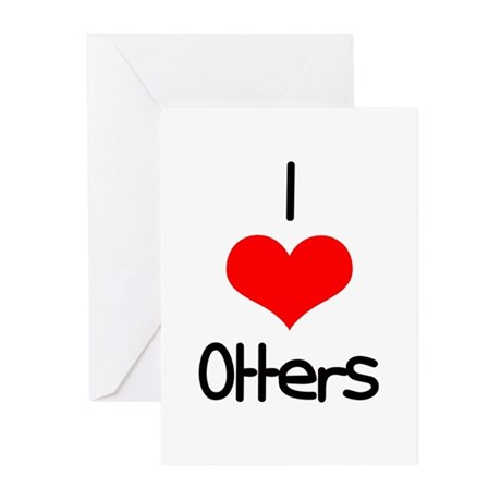 I Love (heart) Otters Greeting Cards (Pk of 10)