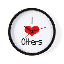 I Love (heart) Otters Wall Clock