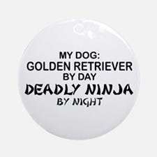 Gldn Retrvr Deadly Ninja Ornament (Round)