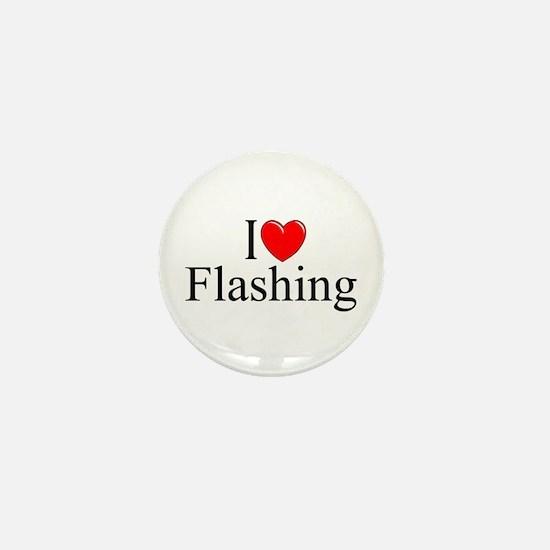 """I Love (Heart) Flashing"" Mini Button"