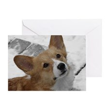Snow Corgi Single Greeting Card