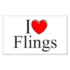 """I Love (Heart) Flings"" Rectangle Decal"