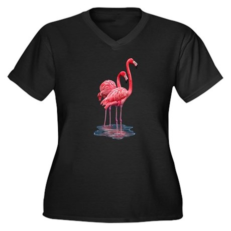 Flamingo Women's Plus Size V-Neck Dark T-Shirt
