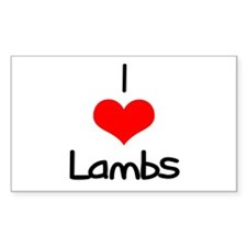 I Love (heart) Lambs Rectangle Decal
