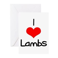 I Love (heart) Lambs Greeting Cards (Pk of 10)