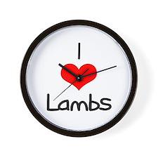I Love (heart) Lambs Wall Clock