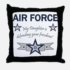 Air Force Daughter defending Throw Pillow