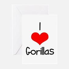 I Love (heart) Gorillas Greeting Cards (Pk of 20)